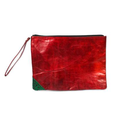Handmade Leather Wristlet in Strawberry from Ghana