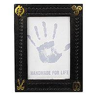 Leather photo frame, 'Gleaming Adinkra' (5x7) - Adinkra Symbol Leather Photo Frame from Ghana (5x7)