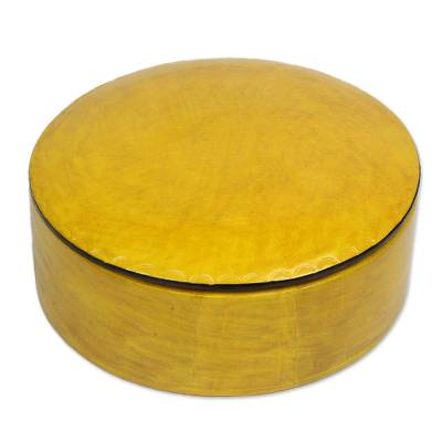 Circular Leather Decorative Box in Yellow from Ghana