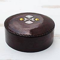 Leather decorative box, 'Beautiful Tarodit' - Brown Leather Decorative Box with Aluminum and Brass Accents