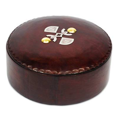 Brown Leather Decorative Box with Aluminum and Brass Accents