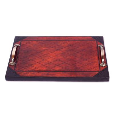Diamond Pattern Leather Tray with Steel Handles from Ghana