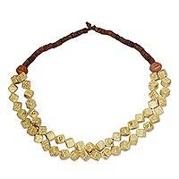 Agate and bauxite beaded strand necklace, 'Nhyira Cubes' - Agate and Bauxite Beaded Strand Necklace from Ghana
