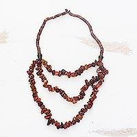 Agate beaded strand necklace, 'Natural Garland' - Natural Agate Strand Necklace Crafted in Ghana