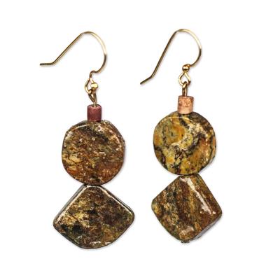 Natural Soapstone Dangle Earrings from Ghana