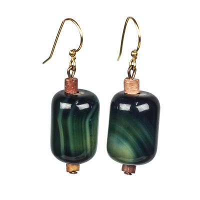 Agate and Bauxite Beaded Dangle Earrings from Ghana