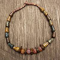 Agate beaded necklace, 'My God Is Big' - Soapstone Bauxite and Agate Beaded Necklace