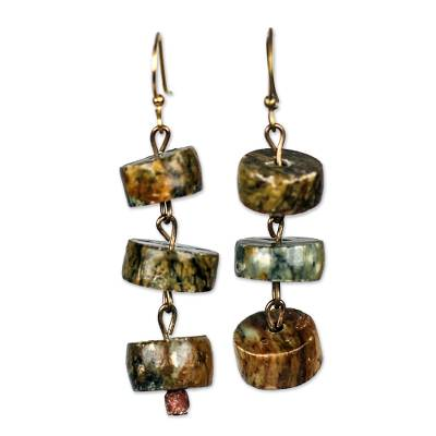 Soapstone Disc and Bauxite Beaded Dangle Earrings from Ghana