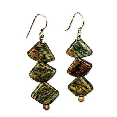 Natural Soapstone and Bauxite Beaded Dangle Earrings