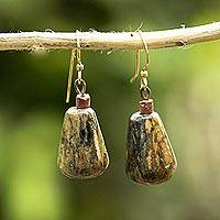 Soapstone and bauxite dangle earrings, 'Africa Drops' - Teardrop Soapstone and Bauxite Dangle Earrings from Ghana