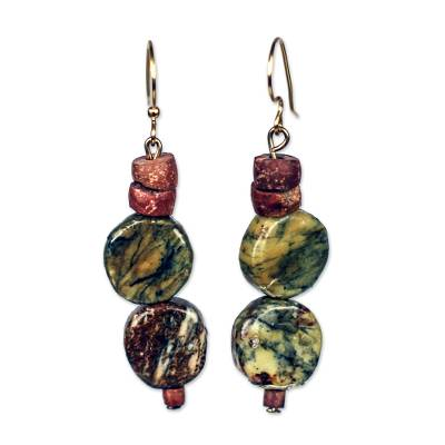 Oval Soapstone and Bauxite Beaded Dangle Earrings from Ghana
