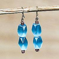 Cat's eye beaded dangle earrings, 'Queen Blue' - Cat's Eye and Bauxite Beaded Dangle Earrings from Ghana