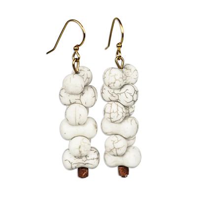 Nestled Agate Beaded Dangle Earrings from Ghana