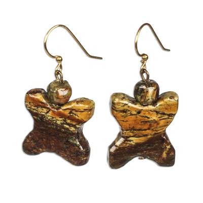 X-Shapted Soapstone Dangle Earrings from Ghana