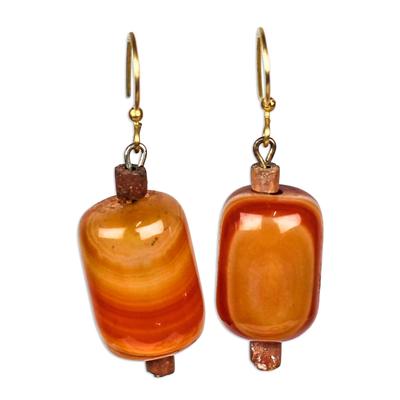 Agate beaded dangle earrings,