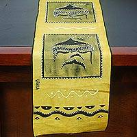 Cotton table runner, 'Angelfish' - Angelfish Motif Cotton Table Runner from Ghana