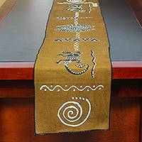 Cotton table runner, 'Gecko Friends' - Gecko-Themed Hand-Painted Cotton Table Runner from Ghana