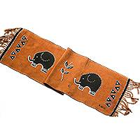 Cotton table runner, 'Elephant Procession' - Elephant Motif Cotton Table Runner from Ghana