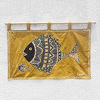 Cotton wall hanging, 'Mother's Affection' - Mother and Child Fish Cotton Wall Hanging from Ghana