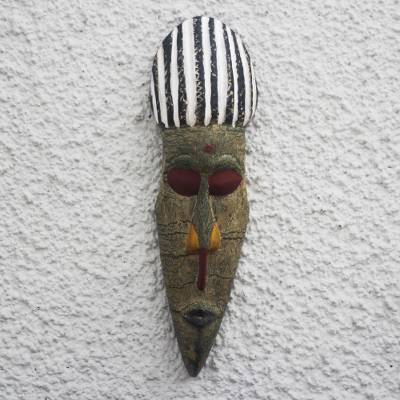 African wood mask, 'Lovely Face' - Rustic African Wood Mask with Striped Accents from Ghana