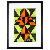 Cotton wall art, 'Abstract Akuaba' - Green and Orange Abstract Cotton Wall Art from Ghana