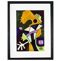 Cotton wall art, 'Peacemakers' - Colorful Abstract Cotton Wall Art from Ghana