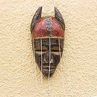 African recycled glass beaded wood mask, 'Damba Festival' - African Recycled Glass Beaded African Wood Mask from Ghana