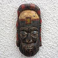 African wood mask, 'Priest of Rome' - African Wood Mask of a Roman Priest from Ghana
