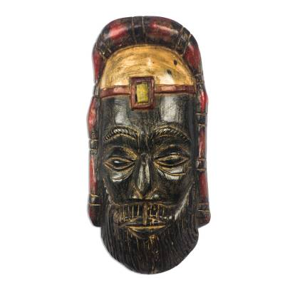 African Wood Mask of a Roman Priest from Ghana