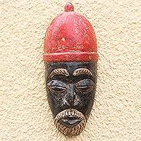 African wood mask, 'Igwe Crown' - African Wood Mask of a King with a Red Crown from Ghana