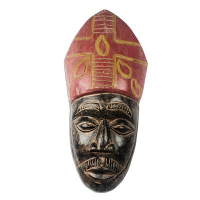 African Wood Mask of a Bishop from Ghana