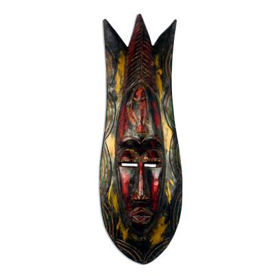 Colorful Fish-Themed African Wood Mask from Ghana