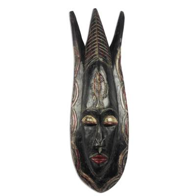 Fish-Themed African Wood Mask from Ghana