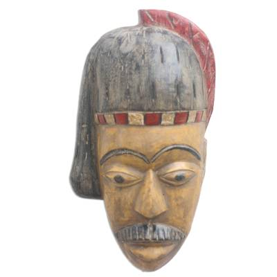 African Wood Mask of a British Colonial from Ghana
