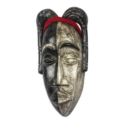 African wood mask, 'Asantewaa Duality' - African Wood Mask of Yaa Asantewaa from Ghana