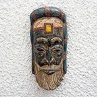 African wood mask, 'Roman Priest' - African Wood Roman Priest Mask from Ghana