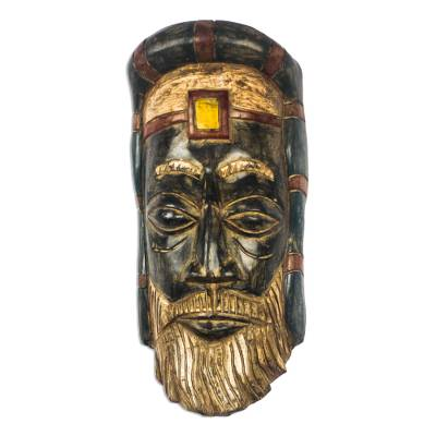African Wood Roman Priest Mask from Ghana