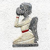 Wood wall sculpture, 'Praying Angel' - Rustic Sese Wood Angel Wall Sculpture from Ghana