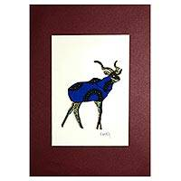 'Deer Blue' - Signed Mixed Media Painting of a Deer in Blue from Ghana