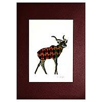 'Deer' - Signed Mixed Media Painting of a Deer from Ghana
