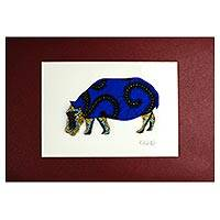 'Hippopotamus Blue' - Signed Hippo Painting with Printed Cotton in Blue from Ghana