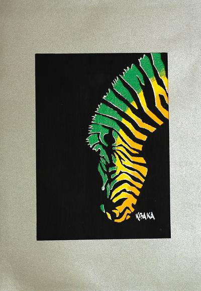 'Drinking Zebra' - Colorful Mixed Media Zebra Painting from Ghana