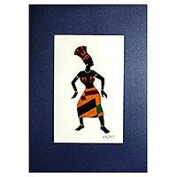 'The Dance II' - Signed Mixed Media Painting of a Dancing Woman from Ghana