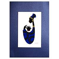 'Baby Kaa Fo II' - Signed Mixed Media Painting of an African Mother in Blue