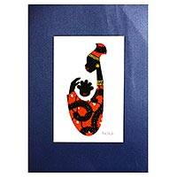 'Baby Kaa Fo I' - Signed Mixed Media Painting of an African Mother in Orange