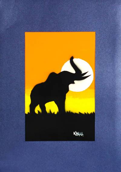 'Elephant in Sunset' - Signed Painting of an Elephant from Ghana