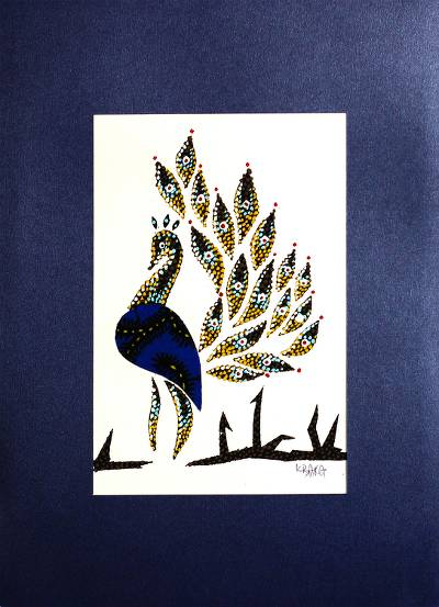 'Peacock Blue' - Signed Mixed Media Painting of a Peacock from Ghana