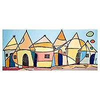 'Abode' - Signed Cubist Architectural Painting from Ghana