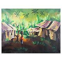 'Somewhere in Africa' - Expressionist Painting of an African Village from Ghana