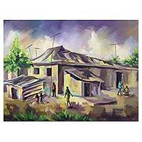 'One Fine Afternoon' - Signed Painting of an African Village from Ghana